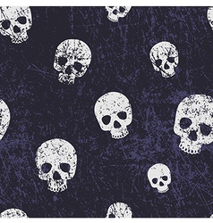 Seamless halloween grunge pattern with skulls vector