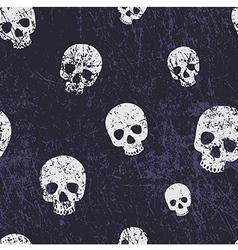 seamless halloween grunge pattern with skulls vector image