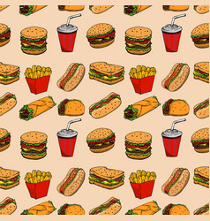 Seamless pattern with fast food hamburger hot dog vector