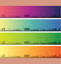 seoul multiple color gradient skyline banner vector image