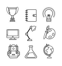set back school utensils to study vector image