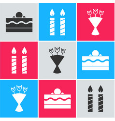 Set cake birthday cake candles and bouquet vector
