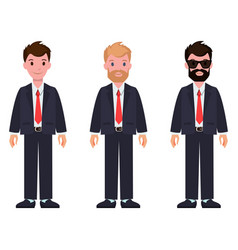 set of cartoon characters in classic suits and tie vector image