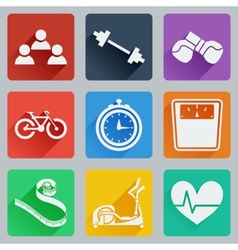 Set of colored square icons on fitness vector