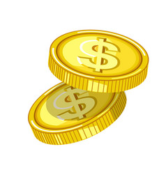 Shiny gold coins with engraved dollar signs drops vector