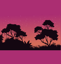 Silhouette of jungle at night landscape vector
