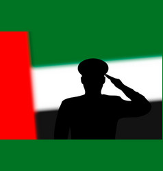 Solder silhouette on blur background with united vector