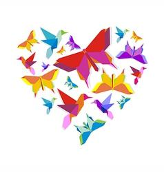 Spring Origami bird love vector image