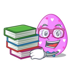 Student with book color the easter eggs isolated vector
