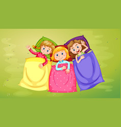 Three girls sleeping on green grass vector