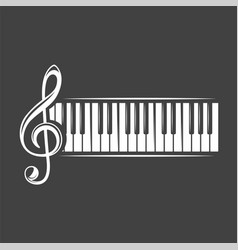 treble clef and piano keyboard vector image
