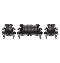 Vintage Baroque sofa and armchairs set vector image