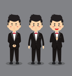 Wedding character with various expression vector