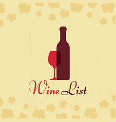 wine list vintage poster with grape leaves vector image