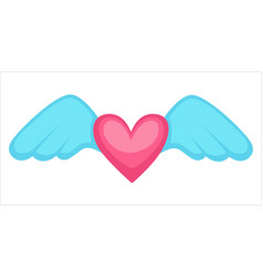 Winged heart st valentines day card decoration vector