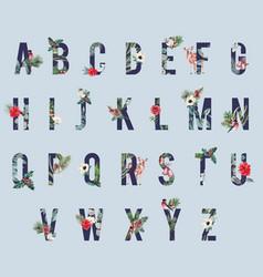 Winter flowers alphabet san-serif font vector