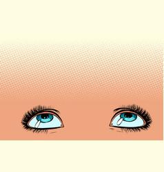 women eyes look up vector image