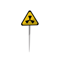 yellow warning triangle sign of radiation hazard vector image
