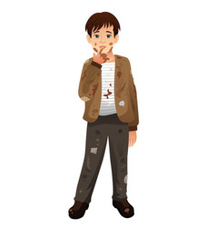 Young man with dirty mud face body vector