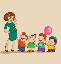 young woman with a group of children vector image