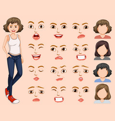 young woman with different facial expression vector image