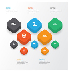 automobile icons set collection of auto plug vector image vector image