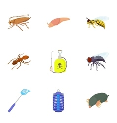 Bad pests icons set cartoon style vector image