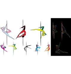 Colored pole dancers silhouettes vector