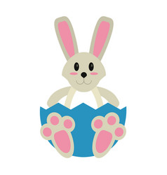 easter bunny with broken egg vector image vector image