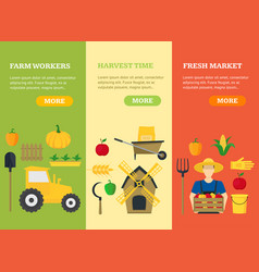 farmer vegetable seller banner card vecrtical set vector image vector image
