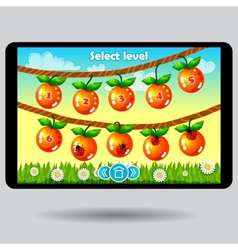 Game level selection fruit ui screen vector image