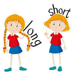 Opposite adjectives long and short vector image vector image