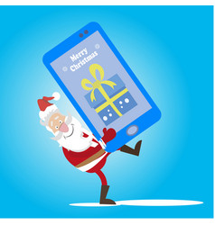 santa cell phone gift vector image