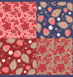 set of patterns of berries vector image vector image