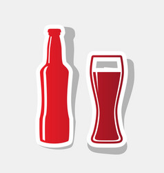 beer bottle sign new year reddish icon vector image