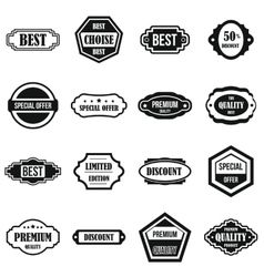 Golden labels icons set simple style vector image vector image