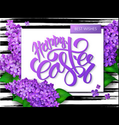 hand lettering happy easter greetings text vector image vector image