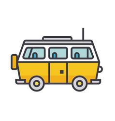 minivan travel family car flat line vector image vector image