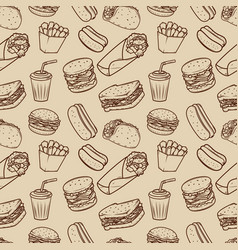 seamless pattern with fast food pattern design vector image vector image