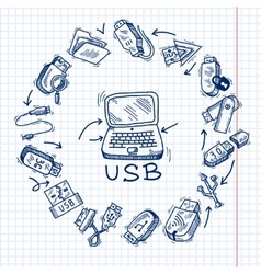 Usb and computer vector image