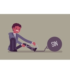 Businessman chained with a metall weight sin vector