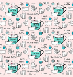 i love coffee typography with cute cat pattern vector image