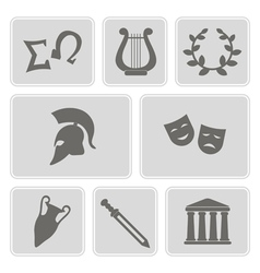 icons with greece symbols vector image