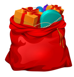 red open santa bag with gifts christmas accessory vector image vector image