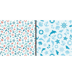 seamless sea patterns with dolphins anchor sea vector image