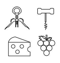 Take out cork grape and cheese icon vector