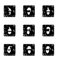 Wizard santa claus icons set grunge style vector