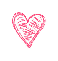 doodle isolated pink scribble heart symbol vector image