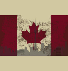 flag of canada and the outline of toronto vector image vector image