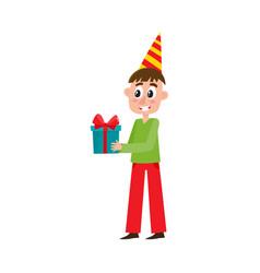 flat man holding big birthday present box vector image